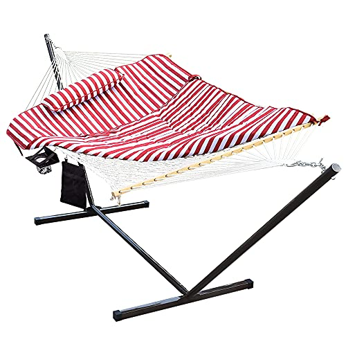 Lazy Daze Hammocks 12 Feet Steel Hammock Stand with Cotton Rope Hammock Combo, Quilted Polyester...