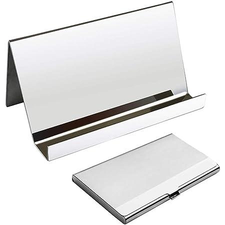 Porte-cartes de visite, cartes de bureau YuCool Display Case Case +1 porte-cartes de visite en acier inoxydable + chiffon de nettoyage gris pour les entreprises de bureau utilisant-argent