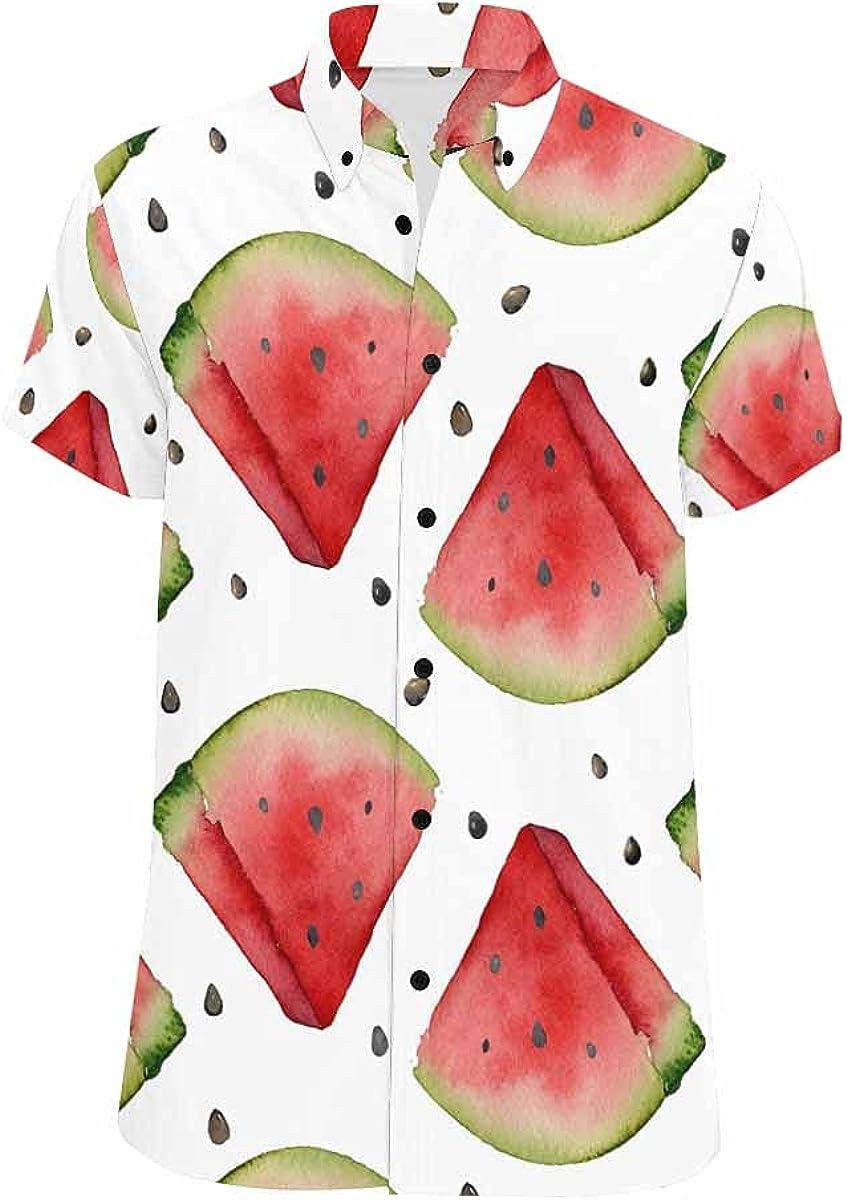 InterestPrint Watercolor Watermelon Hawaiian Beach Shirt Button Down Relax Casual Shirts for Men