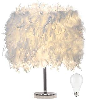 luminaire plume,lampe de chevet, chambre vintage chambre Décoration de maison, lampe de table moderne, lampe de chevet blanc