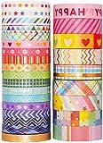 YUBX 27 rollo Washi Tape Set cinta adhesiva decorativa Washi Glitter Adhesivo de Cinta Decorativa para DIY Crafts Scrapbooking (Rainbow-Slim)