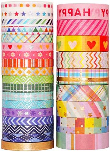 YUBX 27 rollo Washi Tape Set cinta adhesiva decorativa Washi Glitter Adhesivo de...
