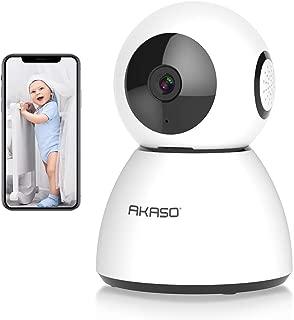 AKASO Cámara de Seguridad WiFi 1080P FHD Cámara de Vigilancia Inalámbrica, Monitor de Bebé/Mascota/Mayores, IP Cámara Compatible con Alexa y Google Asistente, Visión Nocturna, Almacenamiento en Nube o Tarjeta SD ( Blanco )