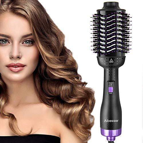 Aibesser Haartrockner, Multifunktions 5 IN 1 Warmluftbürste Hair Styler &Volumizer Heißluftbürste Negativer Ionenfön Föhn Haarglätter Bürste Heißluftkamm Lockenwickler für alle Haartypen