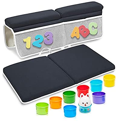 Bath Kneeler and Elbow Rest Pad Baby Bathtub - Bonus 36pc Foam Letters & Numbers, Animal Stacking Cups & Mesh Storage Bag - Bath Kneeling Pad Great for Indoor/Outdoor Use - Washable & Pet Friendly