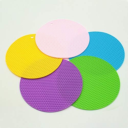 5 alfombrillas de silicona a prueba de calor, antideslizantes, 17,8 cm, almohadillas calientes, multiusos, soporte para cucharas, cocina y comedor, apto para lavavajillas, resistente al agua