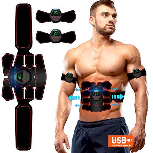 ROOTOK Electroestimulador Muscular Abdominales, Masajeador Eléctrico Cinturón con USB, Estimulación Muscular Masajeador Eléctrico Cinturón Abdomen/Brazo/Piernas/Glúteos