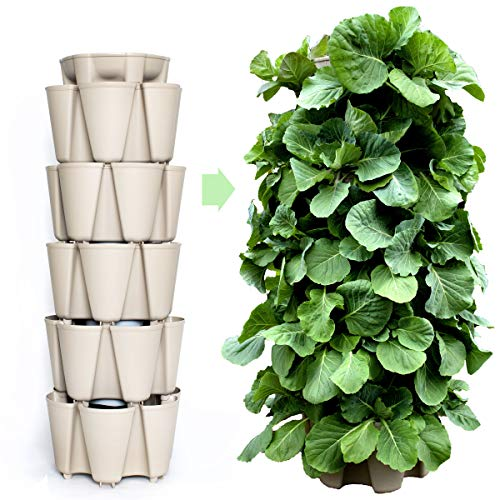 GreenStalk Patented Large 5 Tier Vertical Garden Planter with Patented Internal Watering System Great for Growing a Variety of Strawberries, Vegetables, Herbs, & Flowers (Stunning Stone)