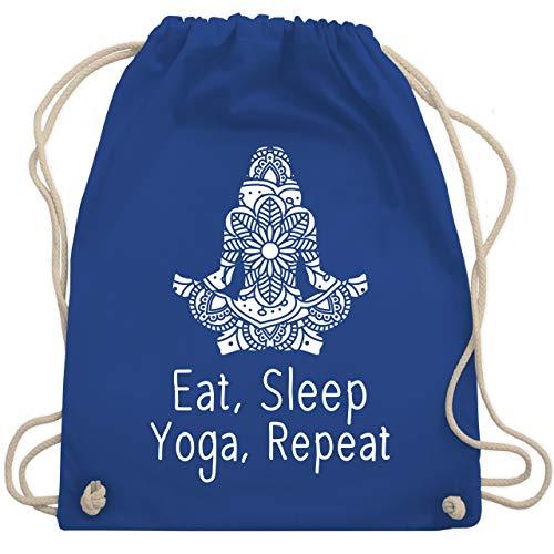 Shirtracer Yoga und Wellness Geschenk - Eat sleep Yoga repeat - weiß - Unisize - Royalblau - Meditation - WM110 - Turnbeutel und Stoffbeutel aus Baumwolle