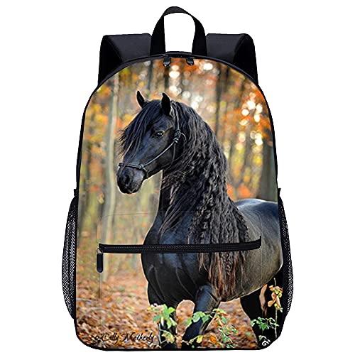 Mochila Infantil 3D Hombre Mochilas Animal caballo negro Adecuado para: estudiantes de primaria y secundaria, la mejor opción para viajes al aire libre Tamaño: 45x30x15 cm / 17 pulgadas Mochilas pe