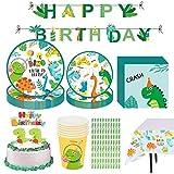 Amycute 83 pcs Vajilla de Fiesta de Dinosaurio, Set de Cubiertos Fiesta de Cumpleaños Infantil, Decoracion de Fiesta Dinosaurio con Pancarta Platos Vasos Servilletas manteles pajitas