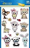 AVERY Zweckform Kinder Sticker 13 Aufkleber (extra groß, Tierbabies, mit Glitter, für Kinder zum Aufkleben, Kindergeburtstag, Mitgebsel, Gastgeschenke, Spiele, Schatzsuche) Art. 53252