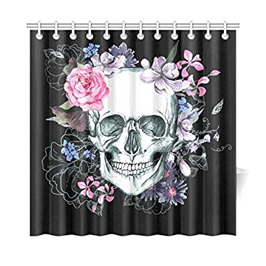 InterestPrint Sugar Skull Flowers Day of The Dead Custom Home Decor 72 X 72 Inches Polyester Fabric Shower Curtain Bathroom Sets