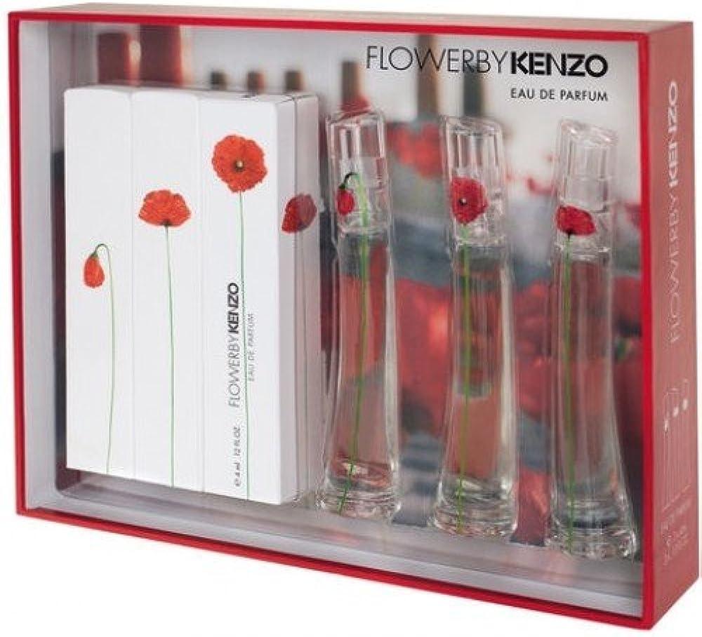 Kenzo flowerbykenzo three miniature set 3x 4 ml eau de parfum new & rare,per donna 3274872407534