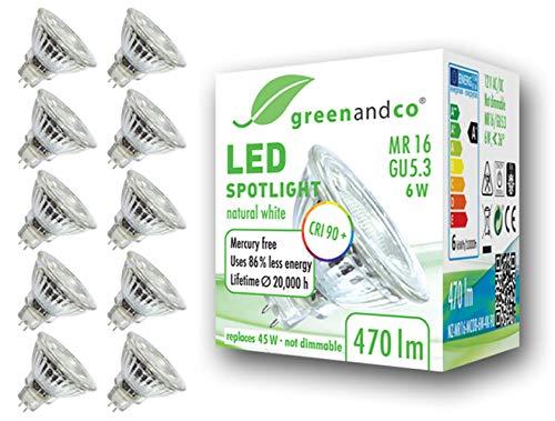 10x greenandco® CRI90+ 4000K 36° LED Spot neutralweiß ersetzt 45 Watt GU5.3 MR16 Halogenstrahler, 6W 470 Lumen SMD LED Strahler 12V AC/DC Glas mit Schutzglas, nicht dimmbar, 2 Jahre Garantie