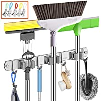 Guukin Storage Rack Utility Broom Mop Holder with 3 Racks 4 Hooks