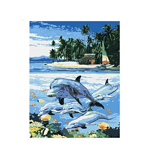 GKJRKGVF Leuke Dolfijn Diy Schilderen Door Aantal Strand Olie Schilderen Acryl Verf Op Doek Muur Kunst Gift