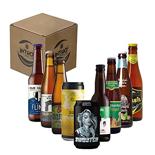 """INTRO BEER CLUB Box Degustazione Birre Artigianali - Selezione di Birre dal Mondo""""Belgio vs Italia"""" - Kit con 9 Bottiglie da 33cl - Confezione Idea Regalo Uomo"""