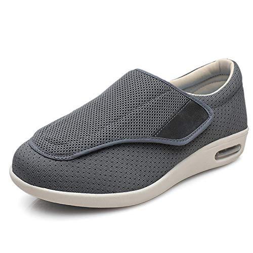 TTFF Damen Herren Verstellbar Schuhe,Einfarbige Diabetes-Schuhe mit weicher Sohle, rutschfeste Deo-Schuhe für ältere Menschen-dunkelgrau_37,Hausschuhe Arthritis Ödem Einstellbare