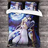 Marshall Darren Sailor Moon 3-Piece Bedding Set Bed Sheets Soft Comfy Breathable Comforter Cover Pillowcases Adults Boy and Girl - Machine Washable One Size