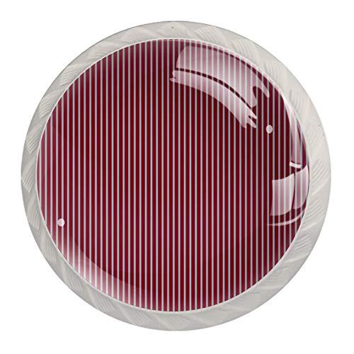 Juego de 4 pomos de cajón con rayas verticales rojas y blancas, para el hogar, cocina, armario, armario, decoración del hogar