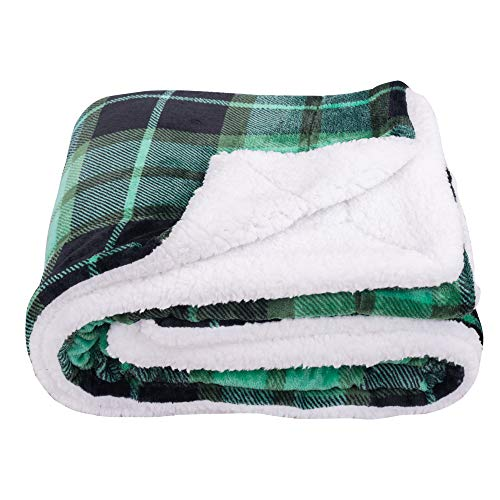 SOCHOW Sherpa Plaid Fleece Throw Blanket, Double-Sided Super Soft Luxurious Bedding Blanket 50 x 60 inches, Green