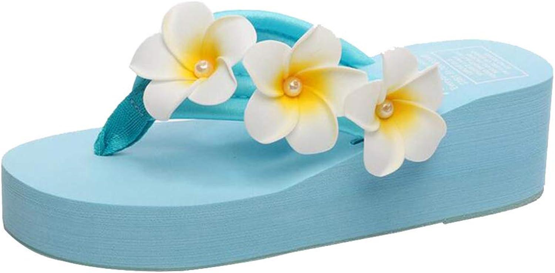 MISS LI Flip Flops Infradito Uomo Seali di Modo dei Fiori delle Donne di Spessore Inferiore Pantofole di Spugna Perle E Sautope da Spiaggia Cucite A uomoo Fiori,bluA-36