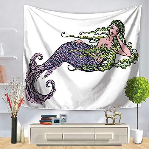 KHKJ Tapiz de Sirena Tapices de Arte de Pared Puerta de casa Sala de Estar Colcha Sábana Mantel Toalla de Playa Estera de Picnic de Yoga A6 95x73cm