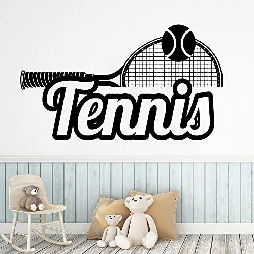 Calcomanía de pared deportiva de tenis, vinilo Art Deco de gimnasio, pegatinas de pared modernas, decoración del hogar, pegatina de pared, Mural A8 57x32cm