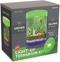 Light-up Terrarium Kit for Kids with LED Light on Lid - Create Your Own Customized Mini Garden in a Jar That Glows at Night - Great Science Kits - Gardening Gifts for Children - Kids Toys - Dan&Darci