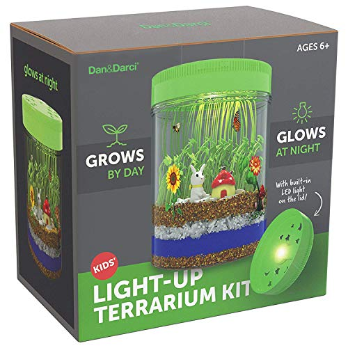 Image of the Light-up Terrarium Kit for Kids with LED Light on Lid - Create Your Own Customized Mini Garden in a Jar That Glows at Night - Great Science Kits - Gardening Gifts for Children - Kids Toys - Dan&Darci