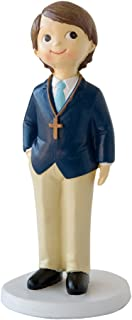 Mopec Figura de Pastel para Comunión de niño con Rosario y Americana Azul, Pack de 1 Unidades, Poliresina, 7.80x7.80x16.00 cm