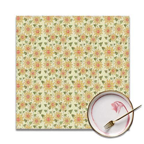 Strawberryran Sonnenblumen Blumen Naturmuster im Patchwork-Stil Rustikales Land Design Gelb Orange Olivgrün 12 X 18 im 4er-Set