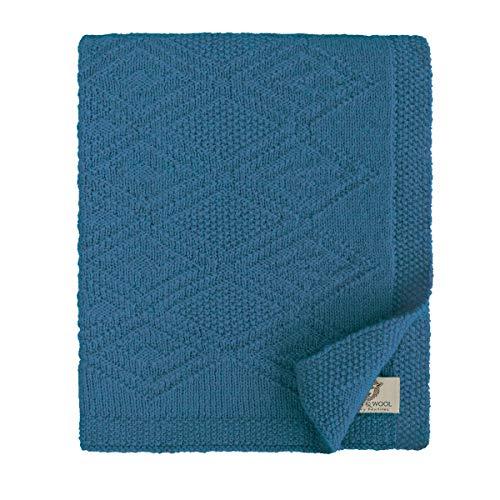 Linen & Cotton Babydecke Gestrickt Lilou Jungen Mädchen -100% Reine Neuseeland Wolle Blau (85 x...
