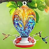 Hummingbird Feeder for Outdoors, Hand Blown Glass Hummingbird Feeders for Color , Premium Brand Humming Bird Feeder of Leakproof、Rustproof 32 Ounces Nectar Capacity. Hook、Ant Moat、Rope、Brush. (Sea)