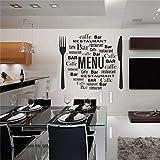 calcomanía decorativo para pared de menú extraíble con cuchillo y tenedor para decoración del hogar, vinilo para cocina, sala de estar, recámara, cuarto de niños, cuarto de juegos
