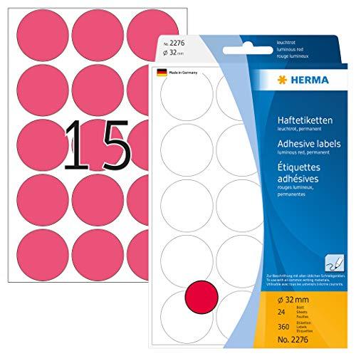 HERMA 2276 Vielzweck-Etiketten / Farbpunkte rund (Ø 32 mm, 24 Blatt, Papier, matt) selbstklebend, permanent haftende Markierungspunkte zur Handbeschriftung, 360 Klebepunkte, leuchtrot