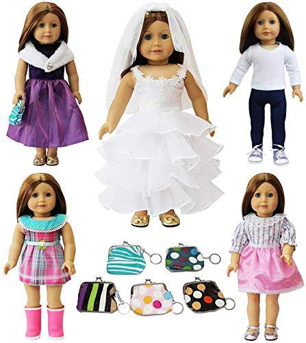 ZITA ELEMENT Ropa de Muñecas 6 Conjuntos = 5 Set Ropa + 1 Bolso de Mano para American 18inch Girl Doll de 18 Pulgadas y Otras Muñecas de 45-46 cm