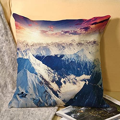 best & Alps Panorama - Funda de almohada de lino personalizada, fundas de almohada personalizadas, almohada de recuerdo de boda, regalo de cumpleaños