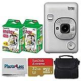 Fujifilm Instax Mini LiPlay Hybrid Instant Camera (Stone White) + Fujifilm Instax Instant Film (40 Shots) + 32GB mciroSDHC Memory Card + Camera/Video Case + Photo4Less Cleaning Cloth – Deluxe Bundle