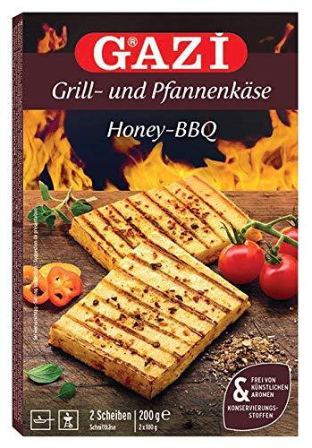 Gazi Grill- und Pfannenkäse Honey-BBQ - 5x 200gramm - Pfanne Grill Grillkäse Ofen Ofenkäse Backkäse 45% Fett i. Tr. Schnittkäse Käse mikrobielles Lab Halal vegetarisch glutenfrei für Grill und Pfanne