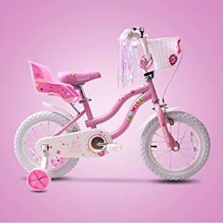 SENQI Little Girl's Bike with Streamers Little Princess Sticker Kids Bicycle with Training Wheels