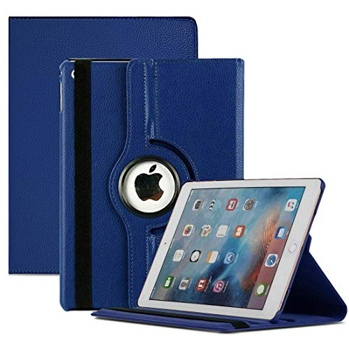 MH TECH For iPad 10.2 Case 8th/7th Generation (2020/2019) 360 Leather Wallet Rotating Durable Protective Cover (Blue)