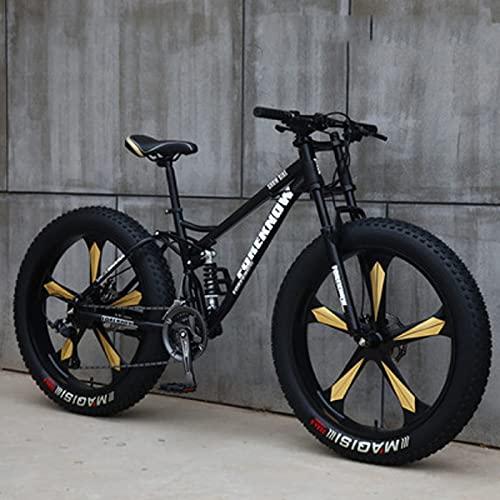 SHUI 24inch Mountain Bike per Adulti, Mountain Bike 4.0 Fat Tire, Bicicletta a 7/21/24/27/30 velocità, Telaio a Doppia Sospensione E Forcella Ammortizzata per Mountain Bi Black-7 Speed