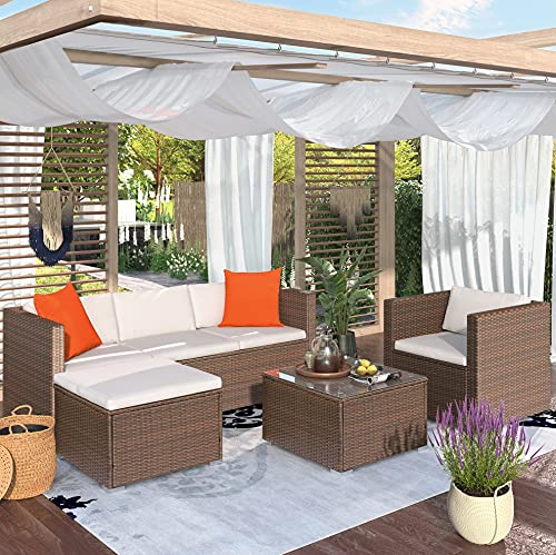 Merax 4 Pieces Outdoor Patio Furniture Sets Cushions with Wicker/Rattan Sectional Sofa, Chair and Tea Table for Gardens, Brown