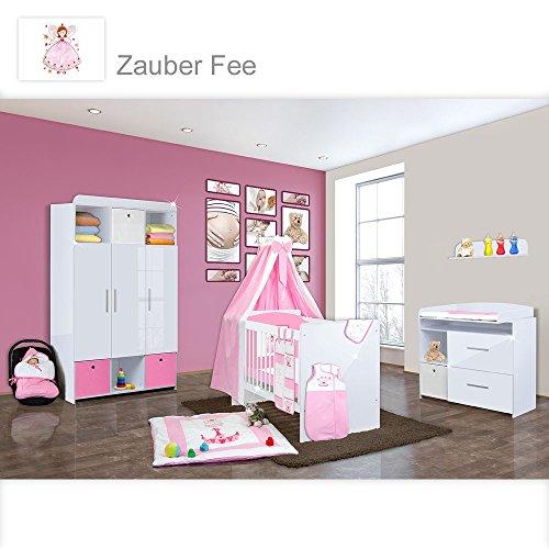 Babyzimmer Mexx in Weiss Hochglanz 22 tlg. mit 3 türigem Kl. + Zauberfee in Rosa