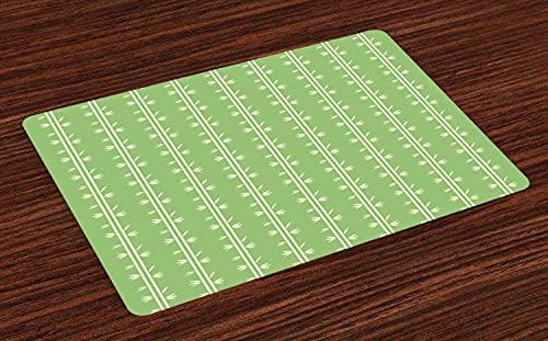 Juego de 4 manteles individuales con estampado de bambú, diseño de oso de panda (botánica), color verde pistacho y crema