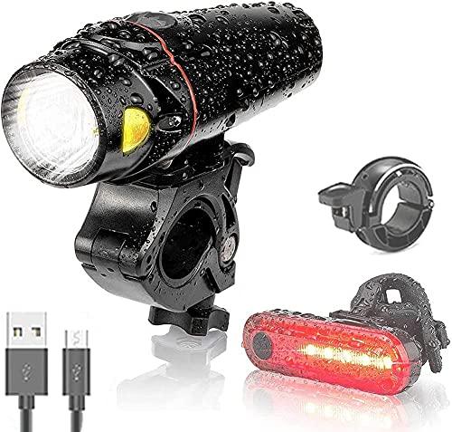 Oyeeice LED Fahrradlicht Set, IPX5 Wasserdicht Fahrradbeleuchtung ,USB Aufladbar Smart Sensor und 3 Leuchtmodi Fahrrad Licht, mit Frontlicht ,Rücklicht und Fahrradklingel (2200 mAh*