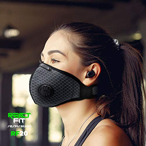ReactFIT Respiration RF20 Unisex Reusable Protective Activated Carbon Health Mask Pollution Allergy Dust Respirator with 3 PM 2.5 Filters Adjustable Breathable Sport Public Face Covering Style (Gray)