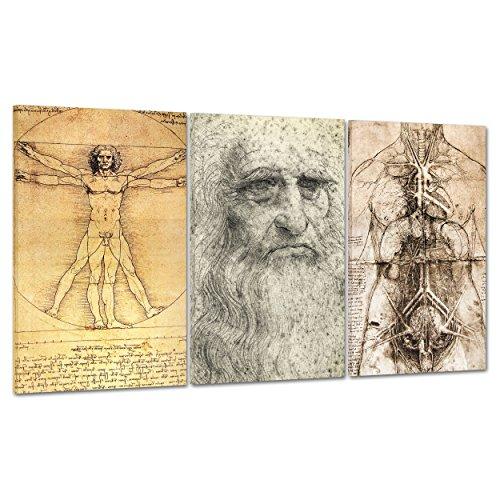 QUADRO MODERNO GIGANTE su Tela Canvas - ARTE - LEONARDO DA VINCI RITRATTO - UOMO VITRUVIANO - MEDICINA ANATOMIA SCHELETRO -100x50cm (cod.1205)